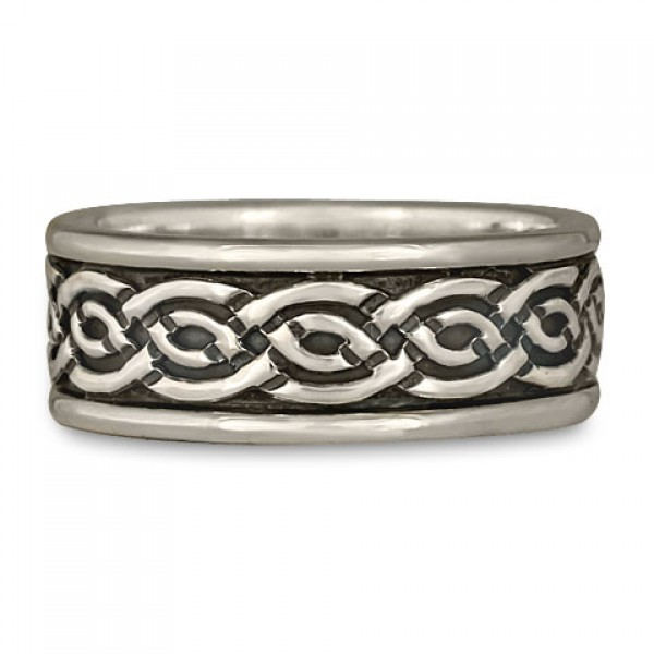 Bordered Laura Wedding Ring in Sterling Silver
