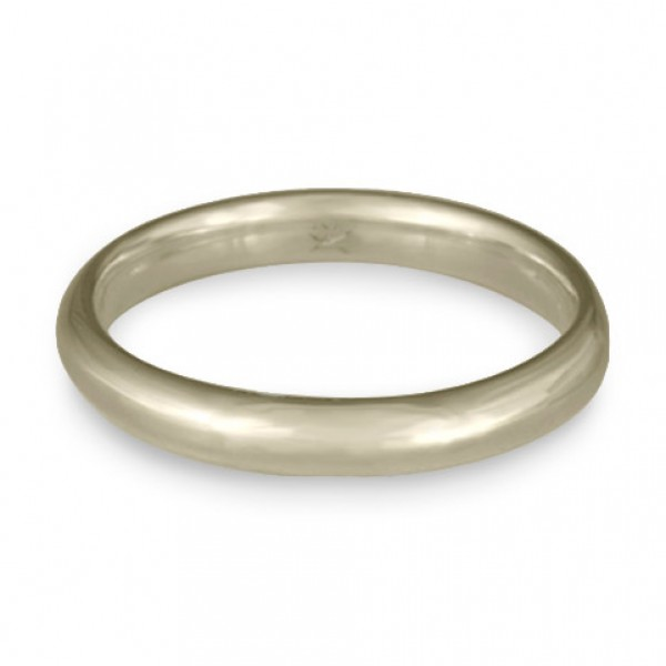 Classic Comfort Fit Wedding Ring, 14K White Gold 3mm Wide by 2mm Thick