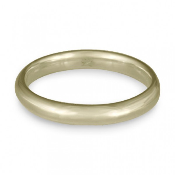 Classic Comfort Fit Wedding Ring, 18K White Gold 3mm Wide by 2mm Thick