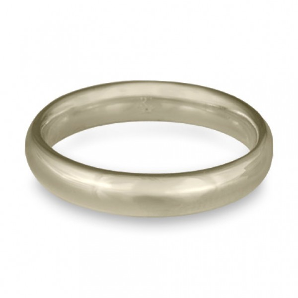 Classic Comfort Fit Wedding Ring, 18K White Gold 4mm Wide by 2mm Thick