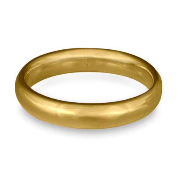 Classic Comfort Fit Wedding Ring, 18K Yellow Gold 4mm Wide by 2mm Thick