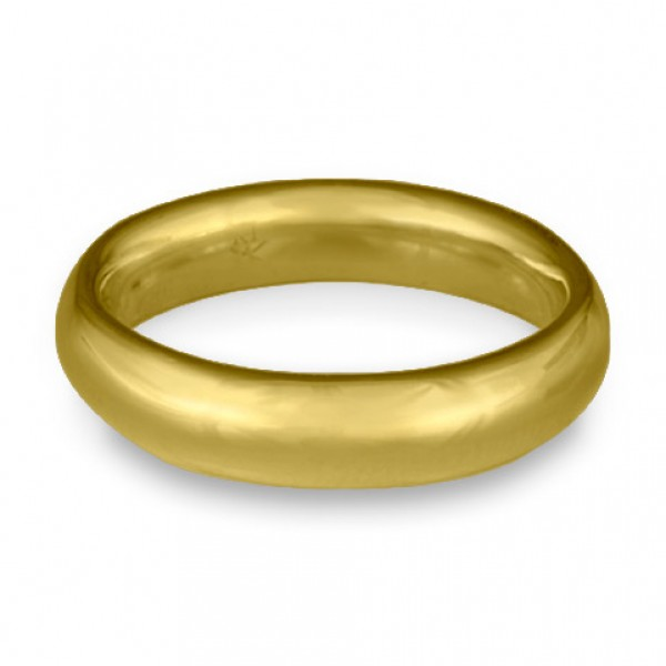 Classic Comfort Fit Wedding Ring, 18K Yellow Gold 5mm Wide by 2mm Thick