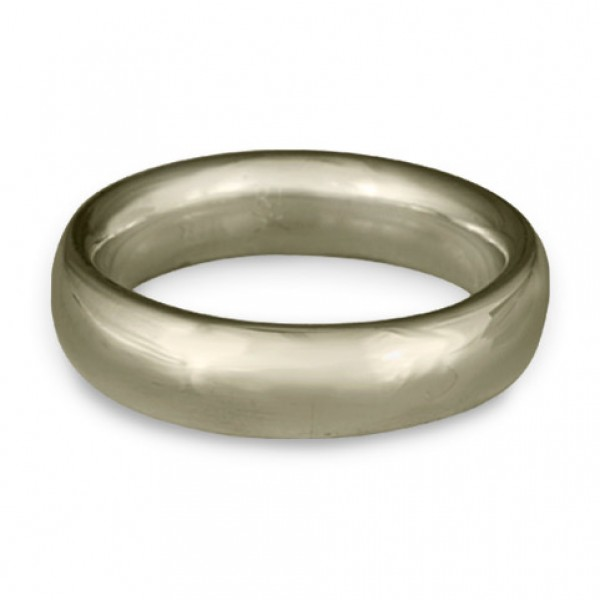 Classic Comfort Fit Wedding Ring, 14K White Gold 6mm Wide by 2mm Thick