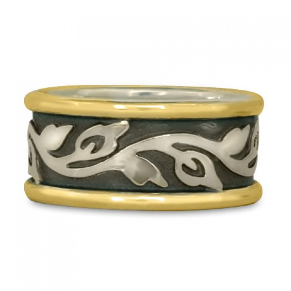 Wide Bordered Flores Wedding Ring (GSG)