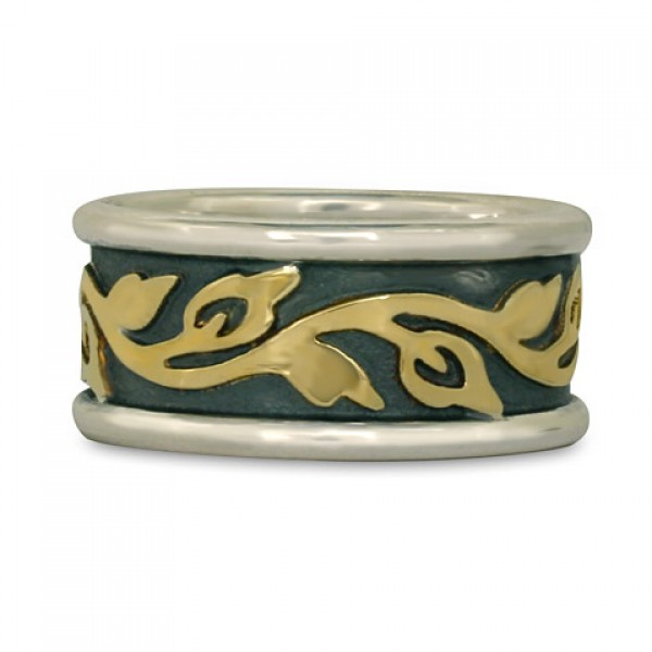 Wide Bordered Flores Wedding Ring (SGS)
