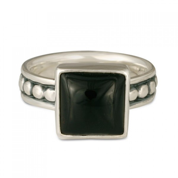 Onyx Square Beaded Ring