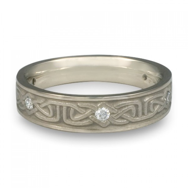 Extra Narrow Labyrinth with Diamonds Wedding Ring in 14K White Gold
