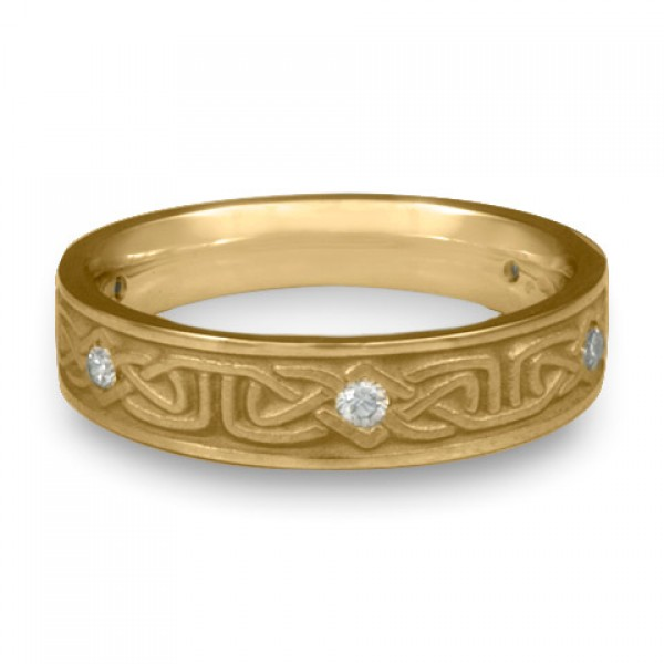 Extra Narrow Labyrinth with Diamonds Wedding Ring in 14K Yellow Gold