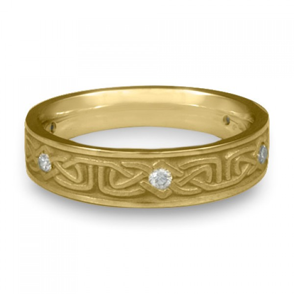 Extra Narrow Labyrinth with Diamonds Wedding Ring in 18K Yellow Gold