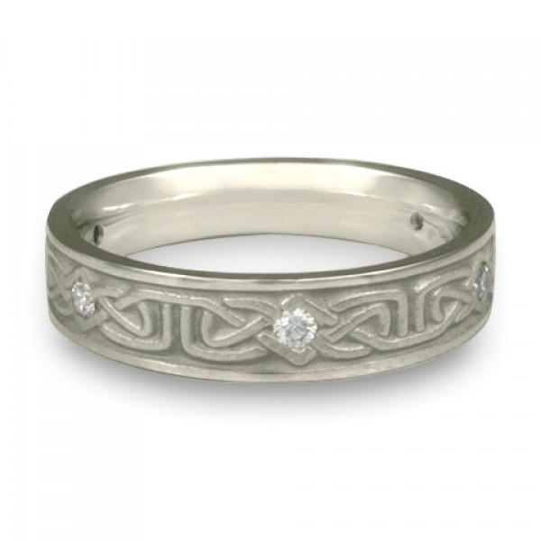 Extra Narrow Labyrinth with Diamonds Wedding Ring in Platinum