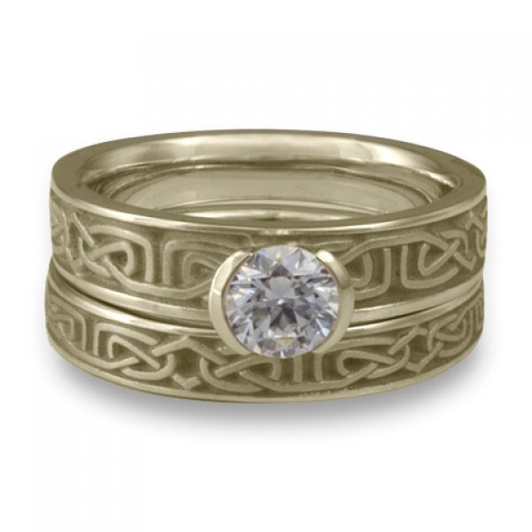Extra Narrow Labyrinth Engagement Ring Set in 18K White Gold