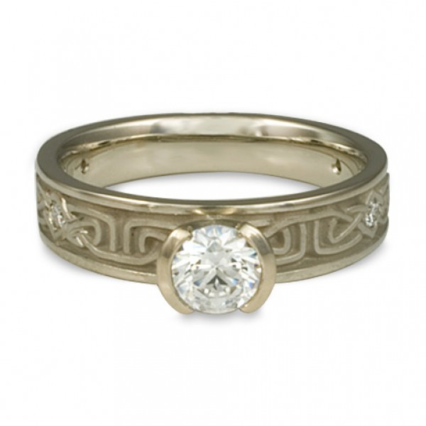 Extra Narrow Labyrinth Engagement Ring with Diamonds in 14K White Gold