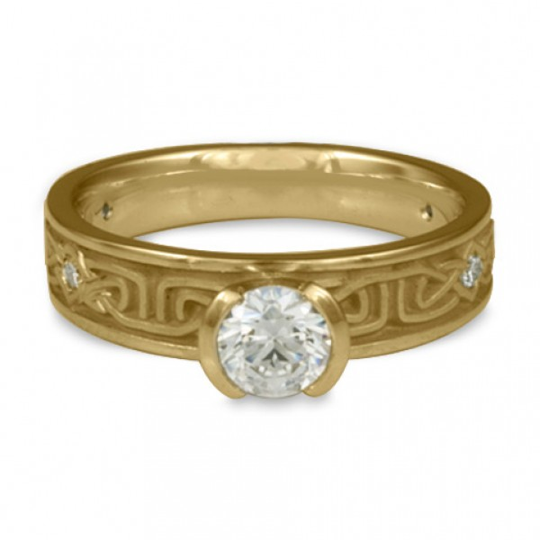 Extra Narrow Labyrinth Engagement Ring with Diamonds in 14K Yellow Gold
