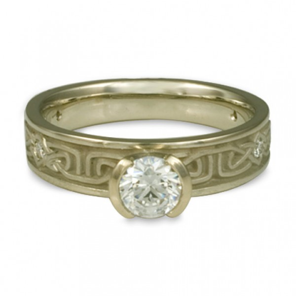 Extra Narrow Labyrinth Engagement Ring with Diamonds in 18K White Gold