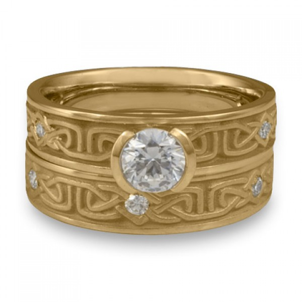 Extra Narrow Labyrinth Engagement Ring Set with Diamonds in 14K Yellow Gold