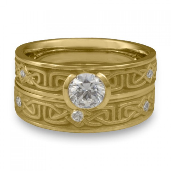 Extra Narrow Labyrinth Engagement Ring Set with Diamonds in 18K Yellow Gold