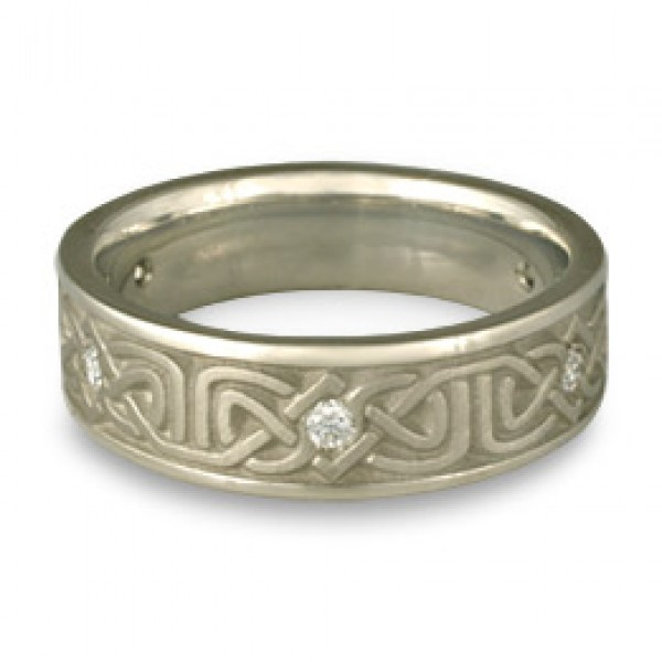 Narrow Labyrinth Wedding Ring with Diamonds in Platinum