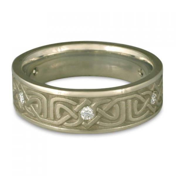 Narrow Labyrinth Wedding Ring with Diamonds in 14K White Gold