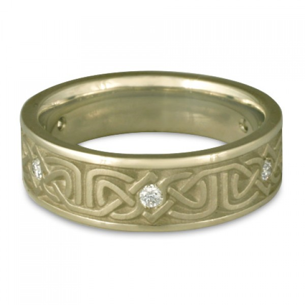 Narrow Labyrinth Wedding Ring with Diamonds in 18K White Gold