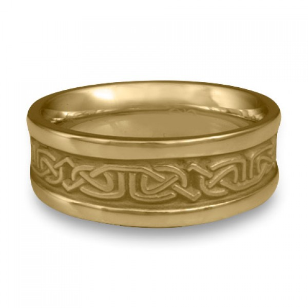 Extra Narrow Self Bordered Labyrinth Wedding Ring in 14K Yellow Gold