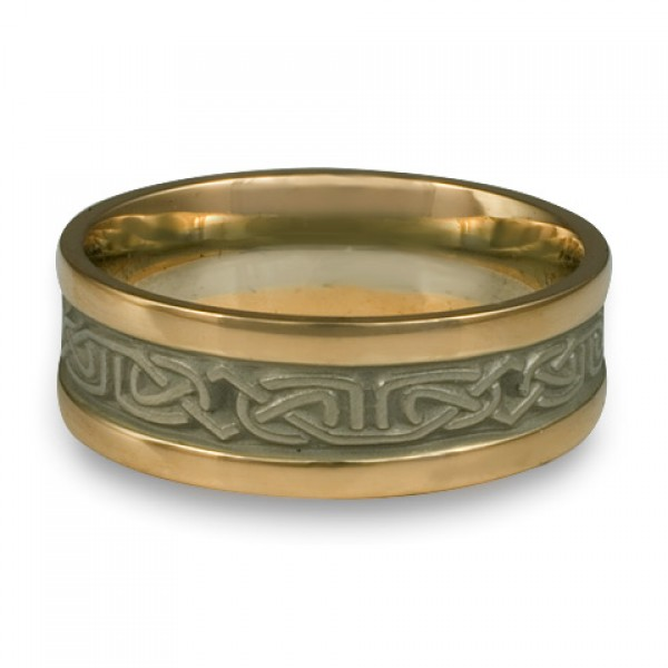 Extra Narrow Two Color Labyrinth Wedding Ring in 18K Two Tone Gold