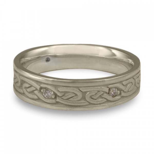 Narrow Infinity With Diamonds Wedding Ring in 14K White Gold