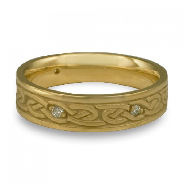 Narrow Infinity With Diamonds Wedding Ring in 18K Yellow Gold
