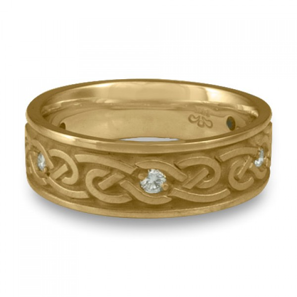 Medium Infinity With Diamonds Wedding Ring in 14K Yellow Gold
