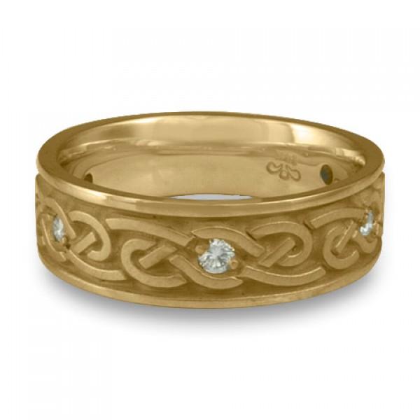 Medium Infinity With Diamonds Wedding Ring in 14K Yellow Gold