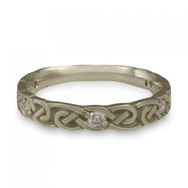 Narrow Borderless Infinity With Diamonds Wedding Ring in 14K White Gold
