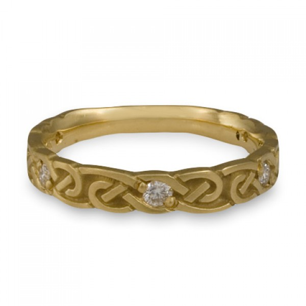 Narrow Borderless Infinity With Diamonds Wedding Ring in 14K Yellow Gold