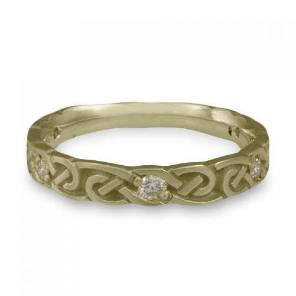 Narrow Borderless Infinity With Diamonds Wedding Ring in 18K White Gold