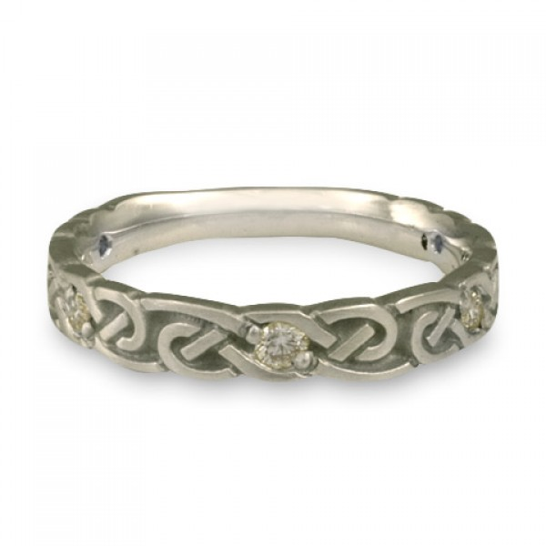 Narrow Borderless Infinity With Diamonds Wedding Ring in Platinum