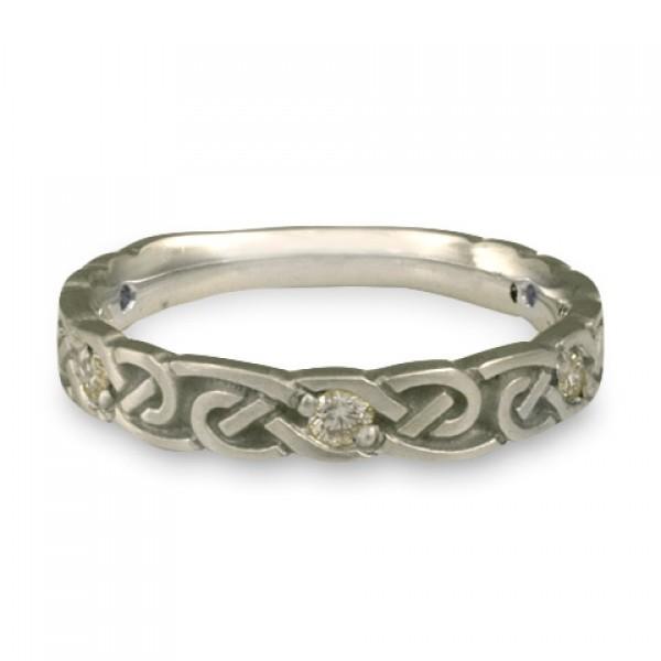 Narrow Borderless Infinity With Diamonds Wedding Ring in Platinum