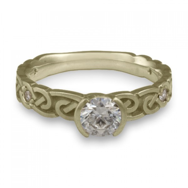 Narrow Borderless Infinity With Diamonds Engagement Ring in 18K White Gold
