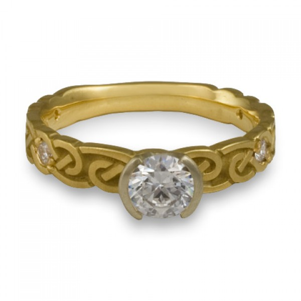Narrow Borderless Infinity With Diamonds Engagement Ring in 18K Yellow Gold