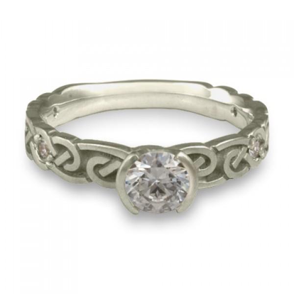 Narrow Borderless Infinity With Diamonds Engagement Ring in Platinum