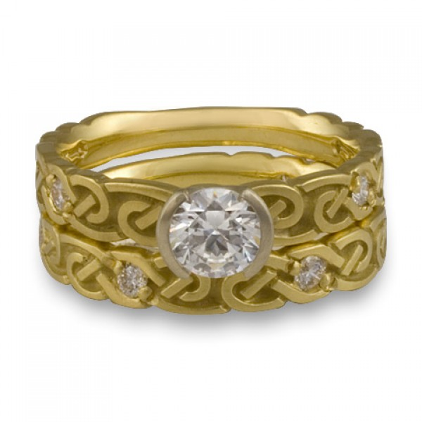 Narrow Borderless Infinity With Diamonds Engagement Ring Set in 18K Yellow Gold