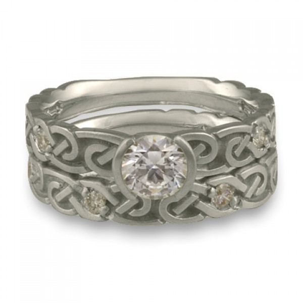 Narrow Borderless Infinity With Diamonds Engagement Ring Set in Platinum
