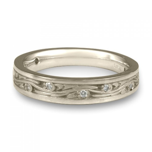 Extra Narrow Starry Night With Diamonds Wedding Band in Platinum
