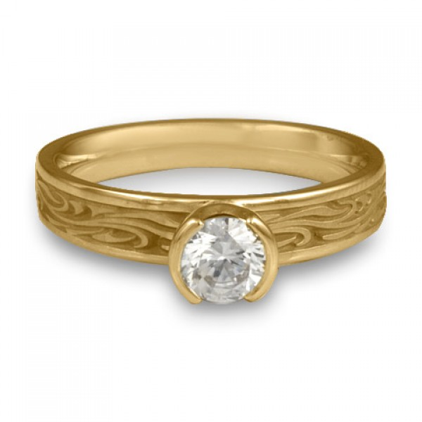 Extra Narrow Starry Night Engagement Ring in 14K Yellow Gold