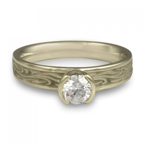 Extra Narrow Starry Night Engagement Ring in 18K White Gold