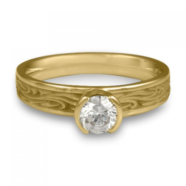 Extra Narrow Starry Night Engagement Ring in 18K Yellow Gold