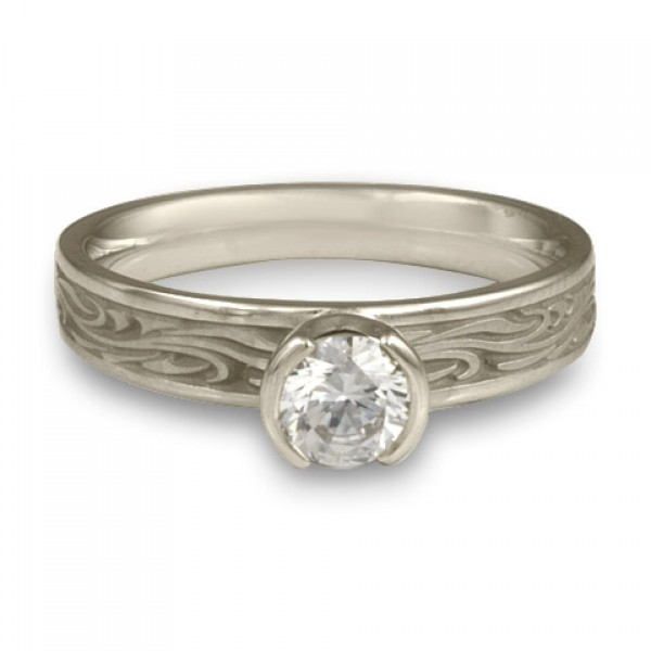 Extra Narrow Starry Night Engagement Ring in Platinum
