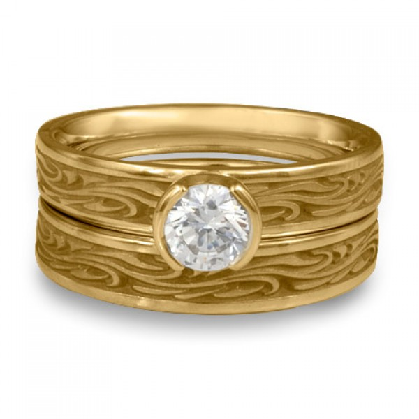 Extra Narrow Starry Night Engagement Ring Set in 14K Yellow Gold