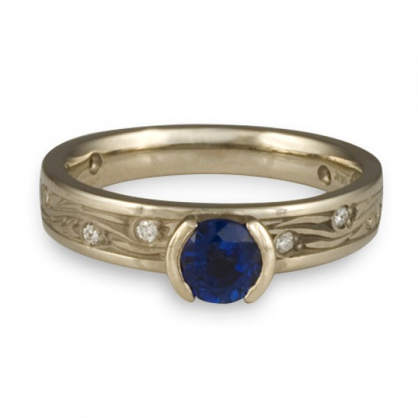 Extra Narrow Starry Night With Diamonds Engagement Ring in 14K White Gold