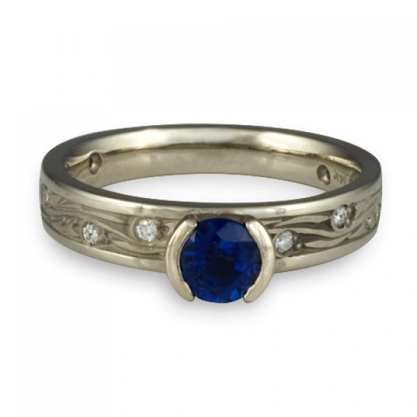 Extra Narrow Starry Night With Diamonds Engagement Ring in Platinum