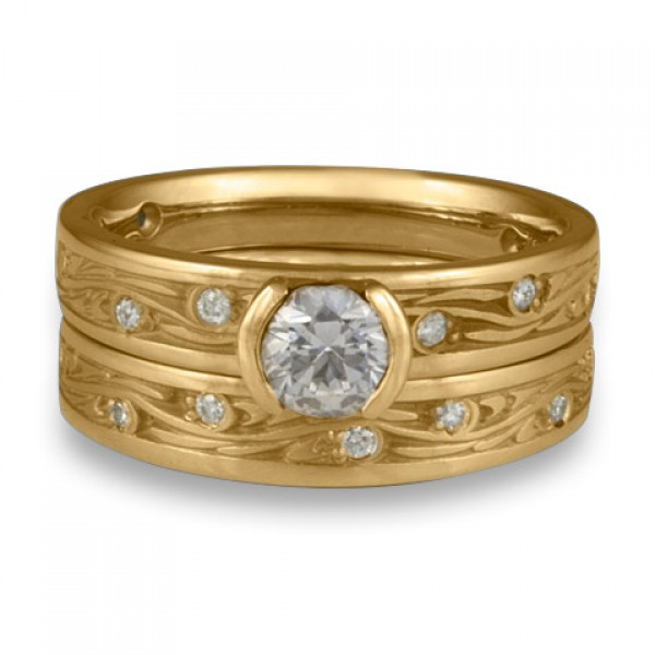 Extra Narrow Starry Night With Diamonds Engagement Ring Set in 14K Yellow Gold