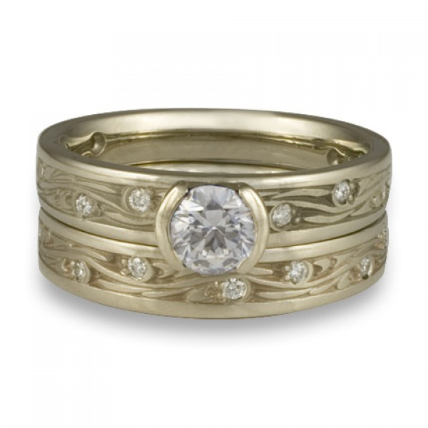 Extra Narrow Starry Night With Diamonds Engagement Ring Set in 18K White Gold