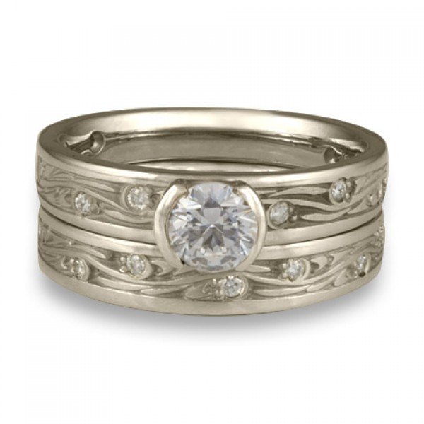 Extra Narrow Starry Night With Diamonds Engagement Ring Set in Platinum